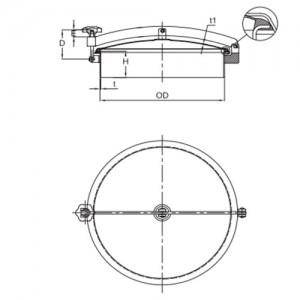 Люк круглый Ду 500 мм Ру 0 бар.AISI304L