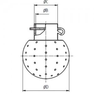 Распылительная головка диаметр шара Ду28, присоединение Ду10/12,2, размер отверстий 1,3 мм, под сварку на 360 град. AISI316L