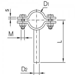 Хомут на ножке Ду40 AISI 304 (1.4301) мат