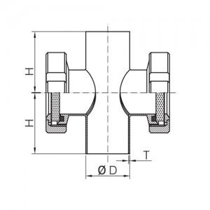 Трубный диоптр сдвоенный под сварку Ду32 AISI304L