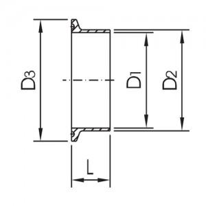 Патрубок для клампа Ду40/41*1,5 AISI 316L полированный