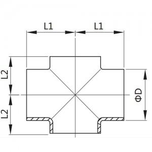 Крестовина Ду50/53*1,5 короткая DIN11852 AISI304L