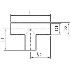 Тройник длинный Ду125/129*2,0 DIN11852 AISI304L