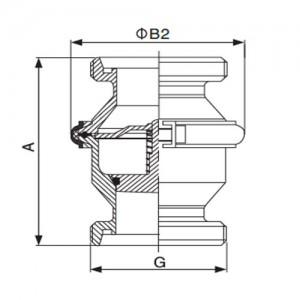 Клапан обратный Ду40 резьба/резьба AISI304L полированный