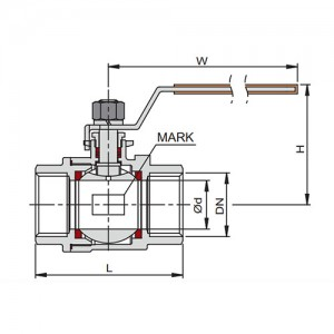 "Кран шаровый DN 1"" из 2-х частей, резьба/резьба, AISI 316, уплотнение PTFE."