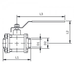 """Кран шаровый DN 1 1/2"""" из 3-х частей, сварка/сварка, AISI 316, уплотнение PTFE."""